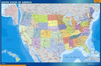 Mapa Estados Unidos de America enmarcado plastificado