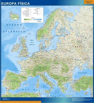 Mapa Europa Fisico enmarcado plastificado
