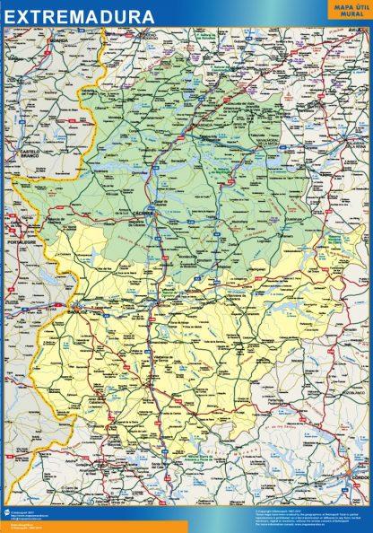 Mapa Extremadura provincias enmarcado plastificado