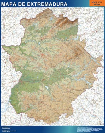 Mapa Extremadura relieve enmarcado plastificado