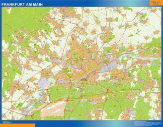 Mapa Frankfurt Am Main en Alemania enmarcado plastificado