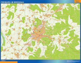 Mapa Freibug Im Breisgau en Alemania enmarcado plastificado