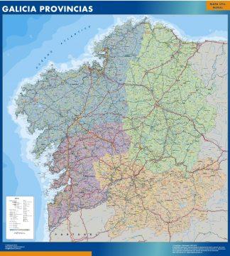 Mapa Galicia provincias enmarcado plastificado