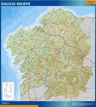 Mapa Galicia relieve enmarcado plastificado