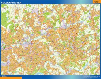 Mapa Gelsenkirchen en Alemania enmarcado plastificado