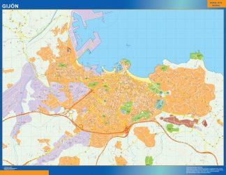 Mapa Gijon callejero enmarcado plastificado