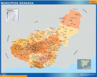 Mapa Granada por municipios enmarcado plastificado