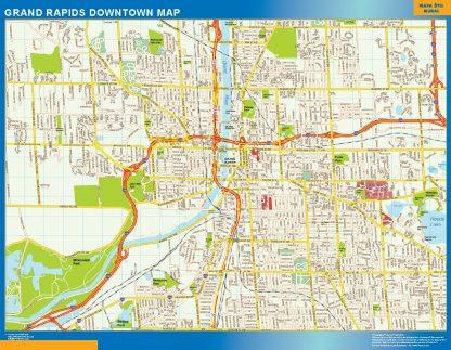 Mapa Grand Rapids downtown enmarcado plastificado