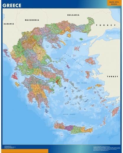 Mapa Grecia enmarcado plastificado