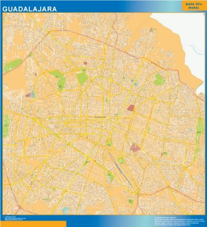 Mapa Guadalajara Centro en Mexico enmarcado plastificado