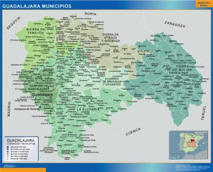 Mapa Guadalajara por municipios enmarcado plastificado