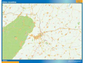 Mapa Guarda área urbana enmarcado plastificado