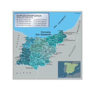 Mapa Guipuzcoa por municipios enmarcado plastificado