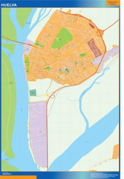 Mapa Huelva callejero enmarcado plastificado
