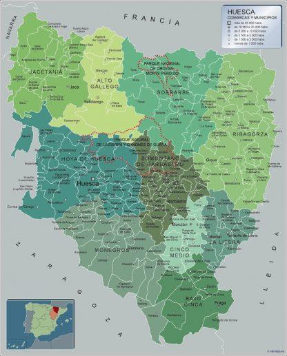 Mapa Huesca por municipios enmarcado plastificado