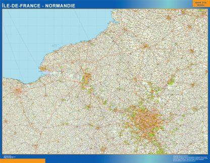 Mapa Ile De France Normandie en Francia enmarcado plastificado