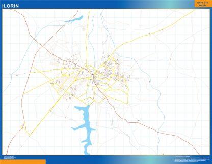 Mapa Ilorin en Nigeria enmarcado plastificado