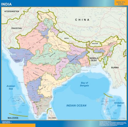 Mapa India enmarcado plastificado