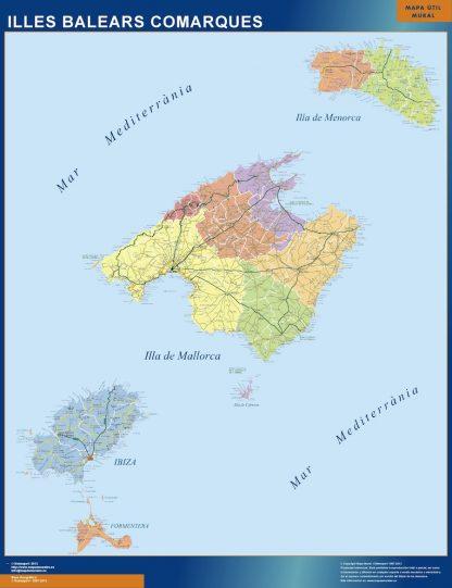 Mapa Islas Baleares enmarcado plastificado