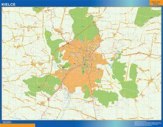 Mapa Kielce Polonia enmarcado plastificado