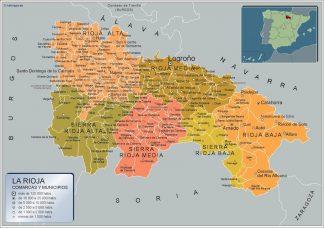Mapa La Rioja por municipios enmarcado plastificado