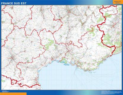 Mapa Languedoc Provence en Francia enmarcado plastificado