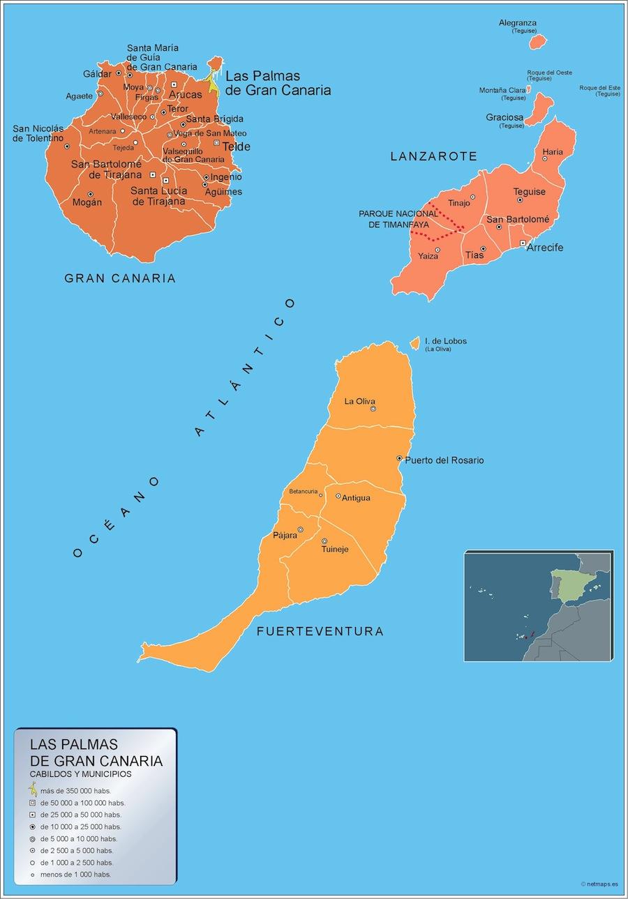 Mapa De La Palma Por Municipios.Mapa Las Palmas Gran Canaria Por Municipios Plastificado Velleda