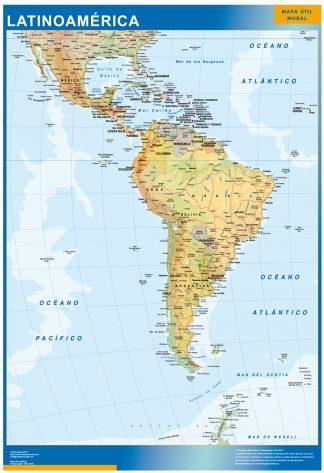 Mapa Latinoamerica enmarcado plastificado