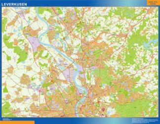 Mapa Leverkusen en Alemania enmarcado plastificado