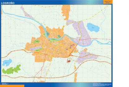 Mapa Logrono callejero enmarcado plastificado