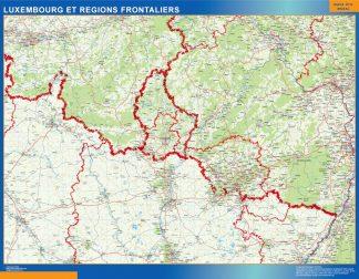 Mapa Luxembourg Regions Frontaliers en Francia enmarcado plastificado