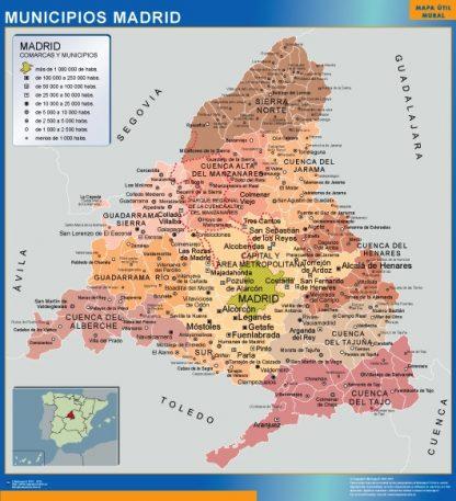 Mapa Madrid por municipios enmarcado plastificado