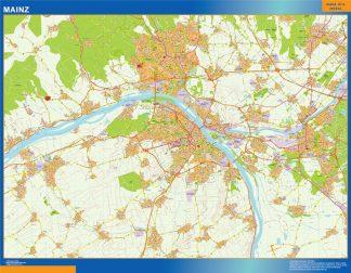 Mapa Mainz en Alemania enmarcado plastificado
