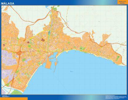 Mapa Malaga callejero enmarcado plastificado