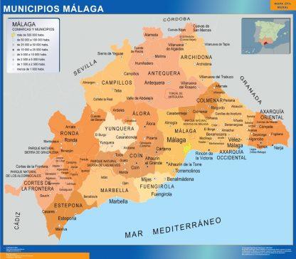 Mapa Malaga por municipios enmarcado plastificado