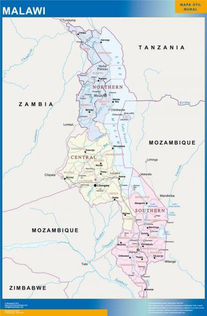 Mapa Malawi enmarcado plastificado