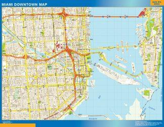 Mapa Miami downtown enmarcado plastificado
