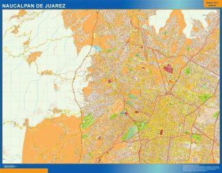 Mapa Naucalpan De Juarez en Mexico enmarcado plastificado