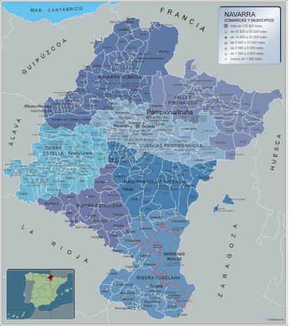 Mapa Navarra por municipios enmarcado plastificado