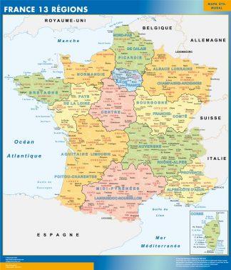 Mapa Nuevas Regiones Francia enmarcado plastificado