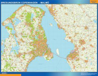 Mapa Oresundsbron en Dinamarca enmarcado plastificado