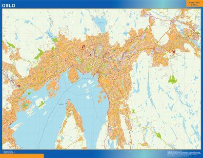 Mapa Oslo en Noruega enmarcado plastificado