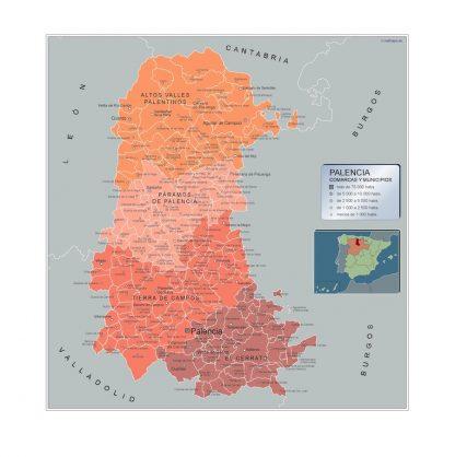 Mapa Palencia por municipios enmarcado plastificado