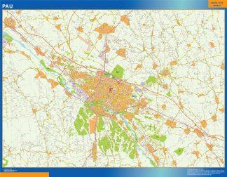 Mapa Pau en Francia enmarcado plastificado