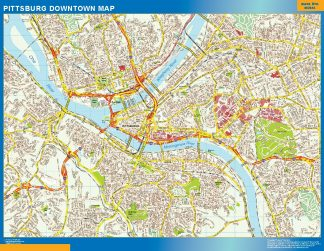 Mapa Pittsburg downtown enmarcado plastificado