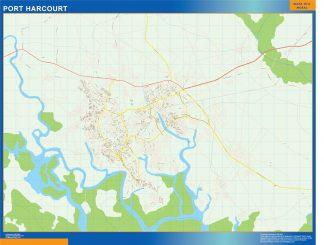 Mapa Port Harcourt en Nigeria enmarcado plastificado