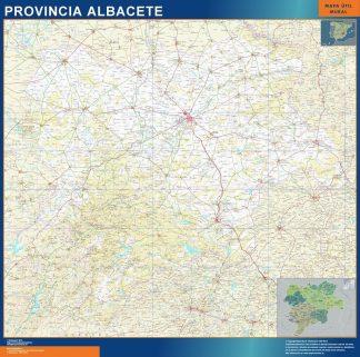 Mapa Provincia Albacete enmarcado plastificado