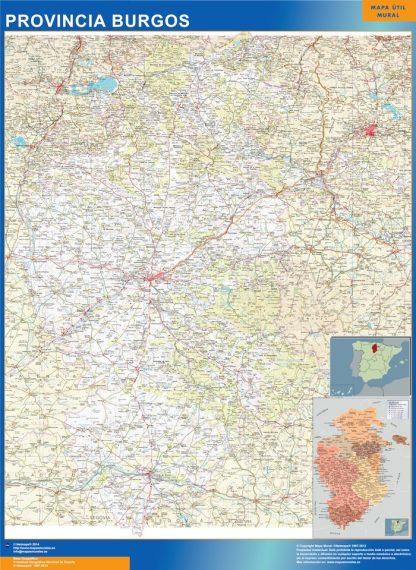 Mapa Provincia Burgos enmarcado plastificado