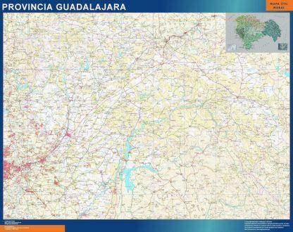 Mapa Provincia Guadalajara enmarcado plastificado