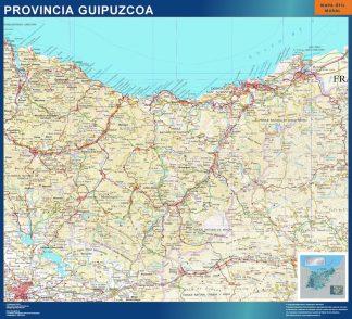 Mapa Provincia Guipuzcoa enmarcado plastificado